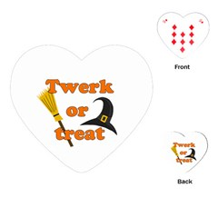 Twerk Or Treat   Funny Halloween Design Playing Cards (heart)