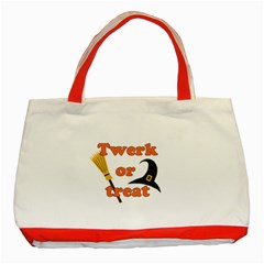 Twerk Or Treat   Funny Halloween Design Classic Tote Bag (red)
