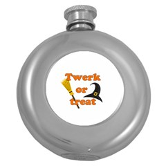 Twerk Or Treat   Funny Halloween Design Round Hip Flask (5 Oz)
