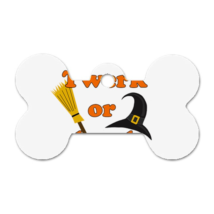 Twerk or treat - Funny Halloween design Dog Tag Bone (Two Sides)