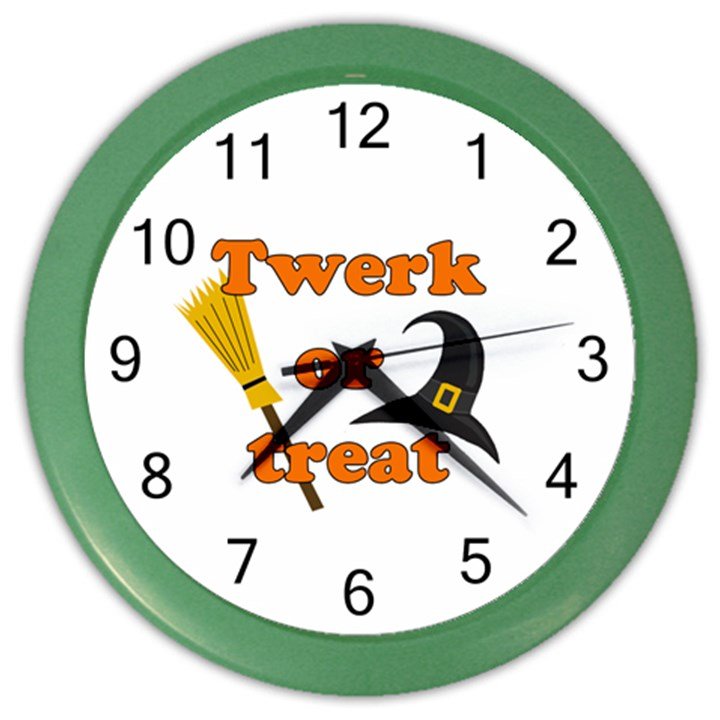 Twerk or treat - Funny Halloween design Color Wall Clocks