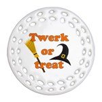 Twerk or treat - Funny Halloween design Ornament (Round Filigree)  Front