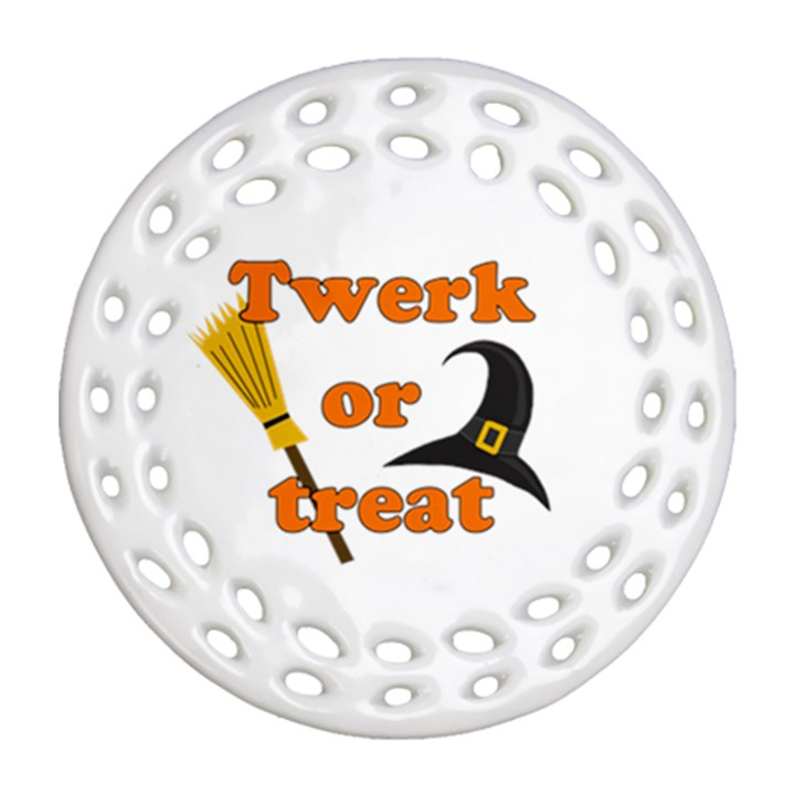 Twerk or treat - Funny Halloween design Ornament (Round Filigree)