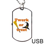 Twerk or treat - Funny Halloween design Dog Tag USB Flash (One Side) Front