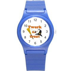 Twerk Or Treat   Funny Halloween Design Round Plastic Sport Watch (s)