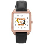 Twerk or treat - Funny Halloween design Rose Gold Leather Watch  Front