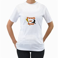 Twerk Or Treat   Funny Halloween Design Women s T Shirt (white)