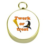 Twerk or treat - Funny Halloween design Gold Compasses Front