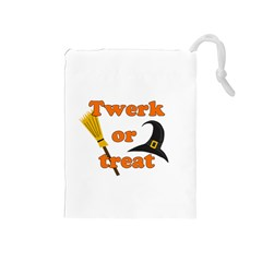 Twerk or treat - Funny Halloween design Drawstring Pouches (Medium)