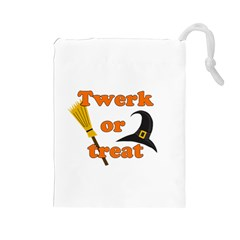 Twerk or treat - Funny Halloween design Drawstring Pouches (Large)