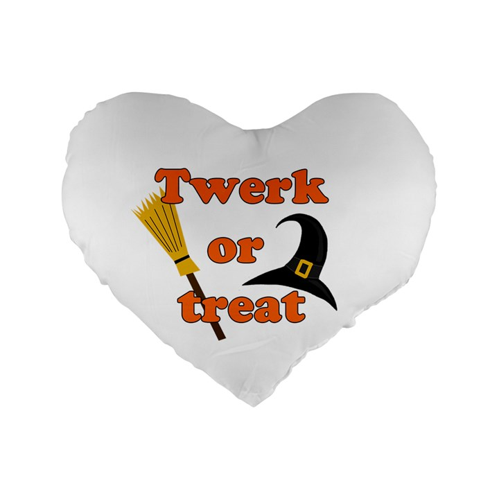 Twerk or treat - Funny Halloween design Standard 16  Premium Flano Heart Shape Cushions