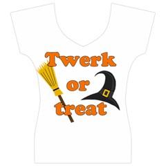 Twerk or treat - Funny Halloween design Women s V-Neck Cap Sleeve Top