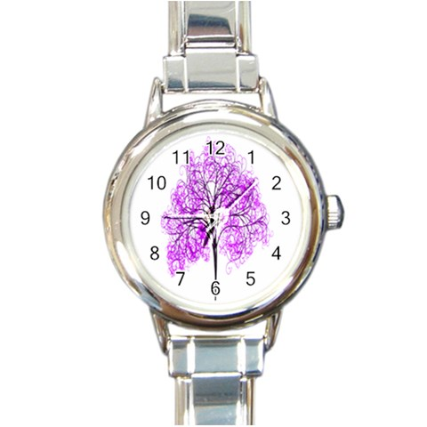 Purple Tree Round Italian Charm Watch