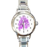 Purple Tree Round Italian Charm Watch Front