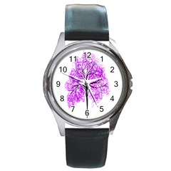 Purple Tree Round Metal Watch
