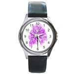 Purple Tree Round Metal Watch Front