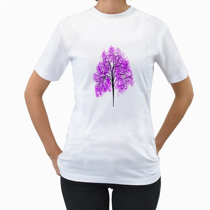 Purple Tree Women s T-Shirt (White) (Two Sided)