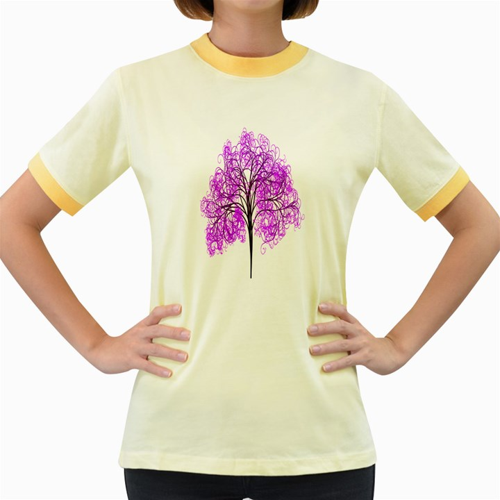 Purple Tree Women s Fitted Ringer T-Shirts