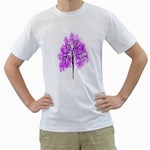 Purple Tree Men s T-Shirt (White) (Two Sided) Front
