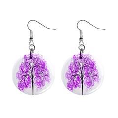 Purple Tree Mini Button Earrings