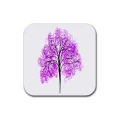 Purple Tree Rubber Coaster (Square)