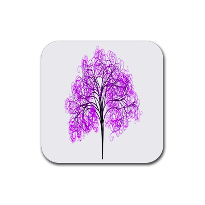 Purple Tree Rubber Square Coaster (4 pack)
