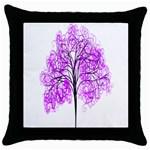 Purple Tree Throw Pillow Case (Black) Front
