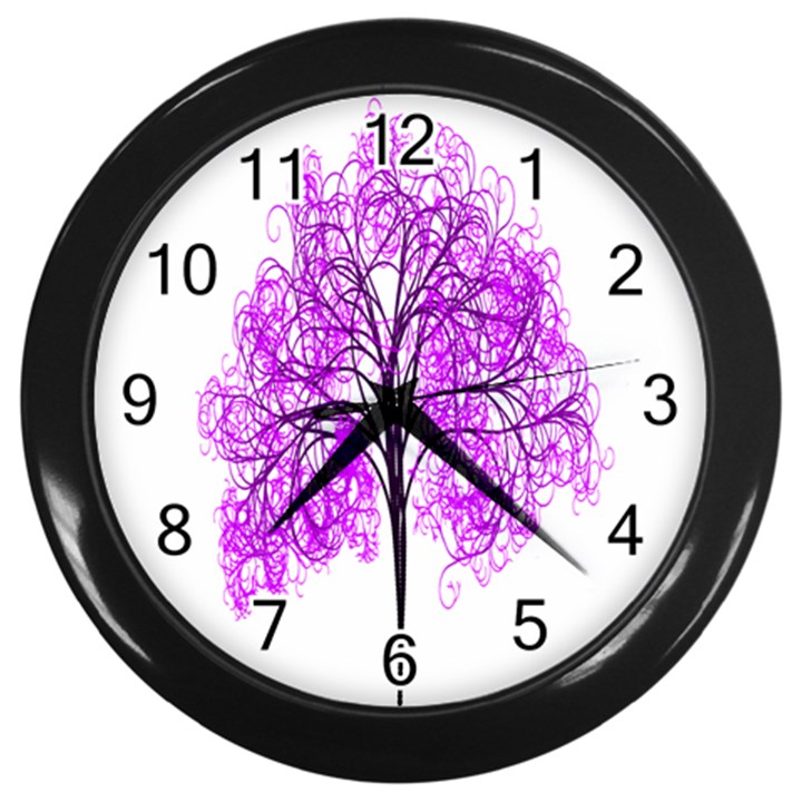 Purple Tree Wall Clocks (Black)