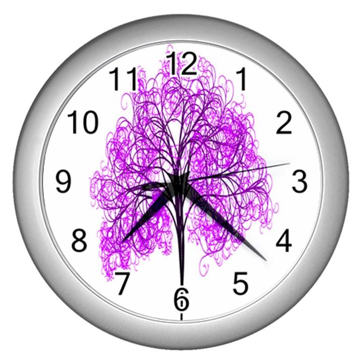 Purple Tree Wall Clocks (Silver)