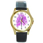 Purple Tree Round Gold Metal Watch Front