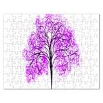 Purple Tree Rectangular Jigsaw Puzzl Front