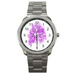 Purple Tree Sport Metal Watch Front