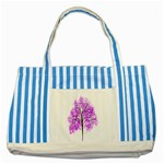Purple Tree Striped Blue Tote Bag Front