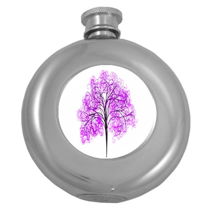 Purple Tree Round Hip Flask (5 oz)
