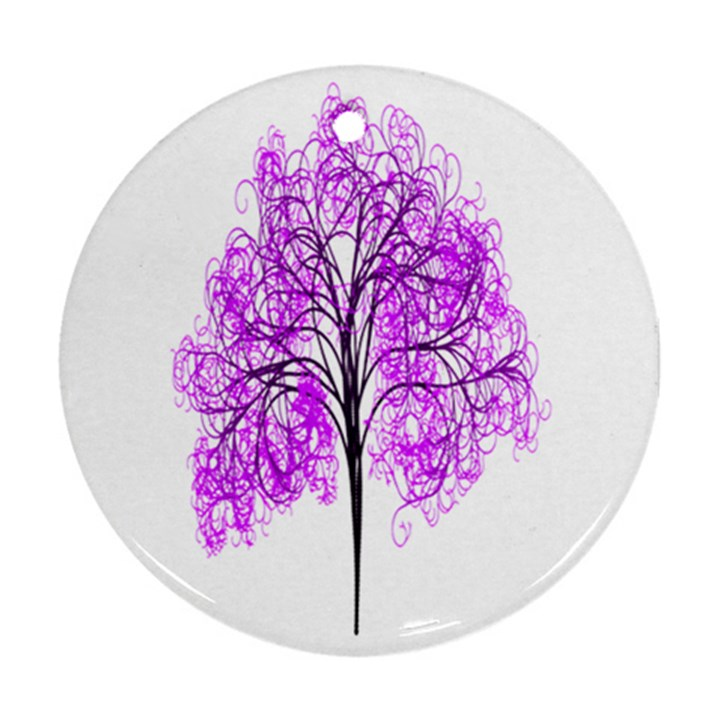 Purple Tree Round Ornament (Two Sides)