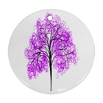Purple Tree Round Ornament (Two Sides)  Back
