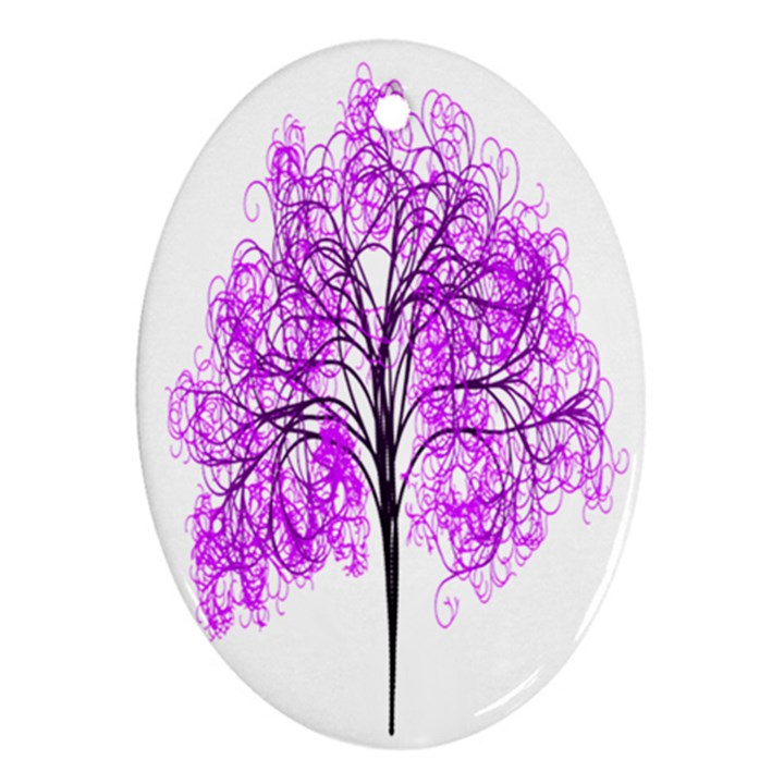 Purple Tree Oval Ornament (Two Sides)