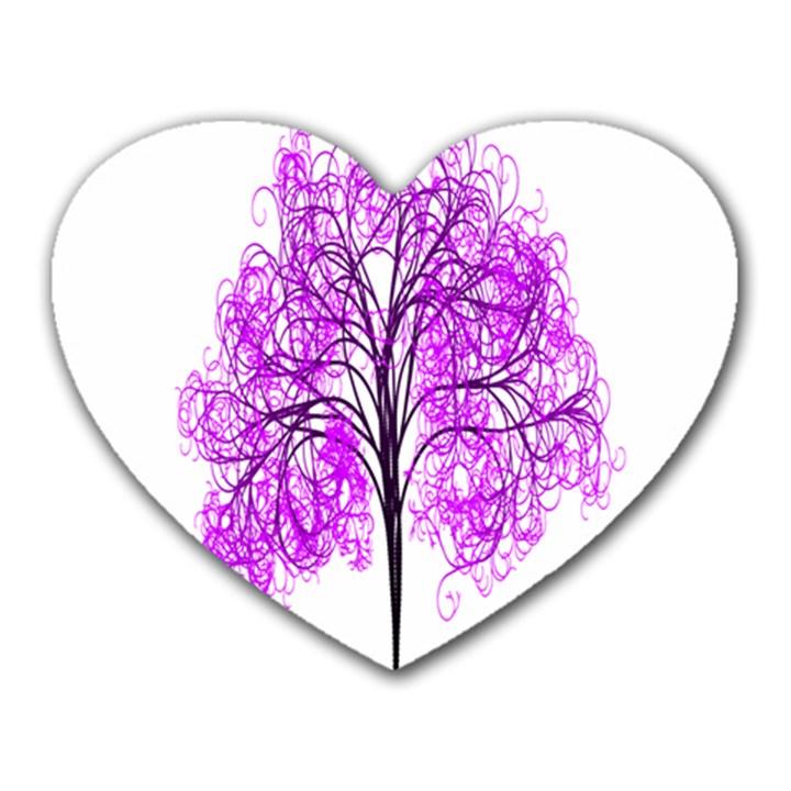 Purple Tree Heart Mousepads