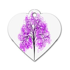 Purple Tree Dog Tag Heart (Two Sides)