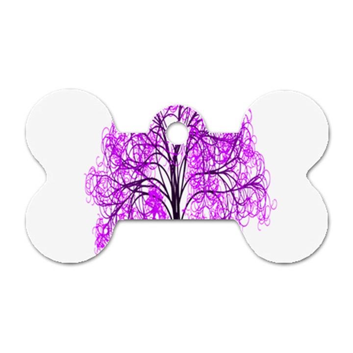 Purple Tree Dog Tag Bone (Two Sides)