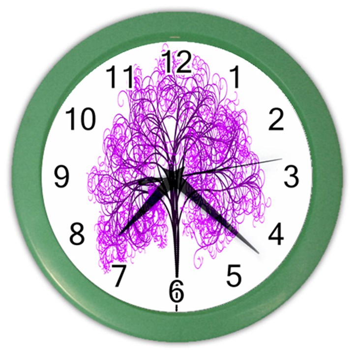 Purple Tree Color Wall Clocks