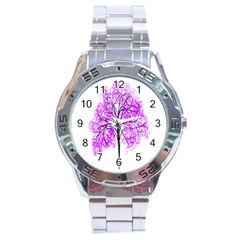 Purple Tree Stainless Steel Analogue Watch