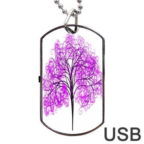 Purple Tree Dog Tag USB Flash (Two Sides)