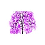 Purple Tree Happy Birthday 3D Greeting Card (8x4) Front