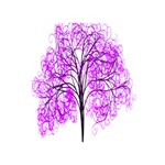 Purple Tree Peace Sign 3D Greeting Card (7x5) Back