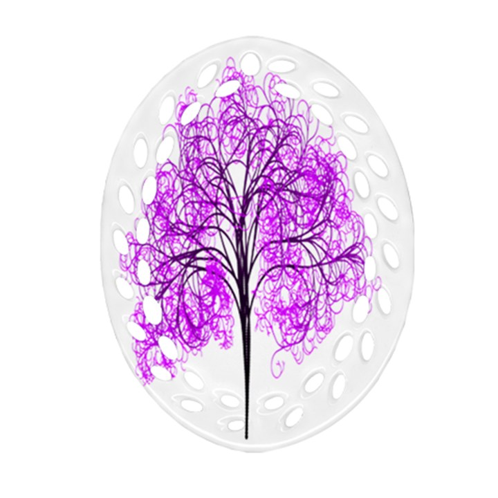 Purple Tree Oval Filigree Ornament (2-Side)