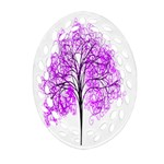 Purple Tree Oval Filigree Ornament (2-Side)  Back