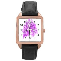 Purple Tree Rose Gold Leather Watch