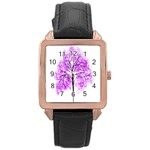 Purple Tree Rose Gold Leather Watch  Front
