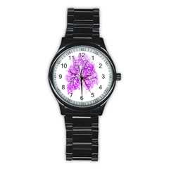 Purple Tree Stainless Steel Round Watch